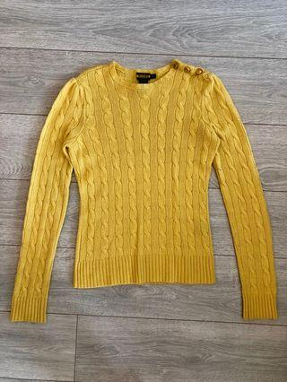 Ralph Lauren Yellow Slim Fit Cable Sweater