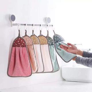 0815/E5/C0*V EH056 珊瑚绒挂式擦手巾🉑🉐竹纤维洗碗手套.