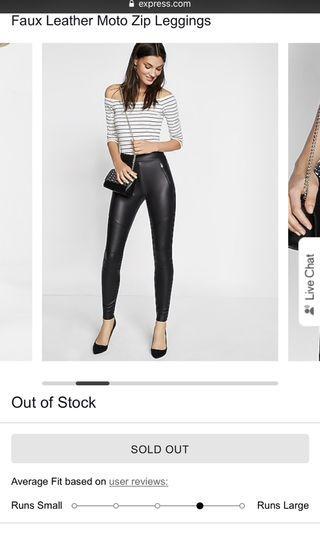 Faux Leather moto zipper pants / leggings
