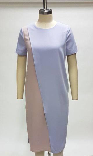 Color Blocking Midi Dress