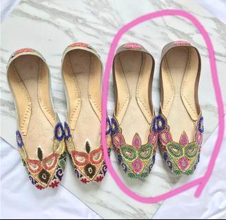 手工製作 巴基斯坦面具款 珠珠刺繡 平底鞋 包鞋 娃娃鞋 國外帶回 涼鞋 輕便鞋 手工鞋 淑女鞋