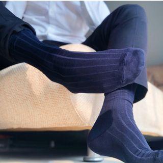 商务男襪 長筒條文簡約 高筒男襪