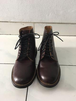 Men's Maroon Leather Boots