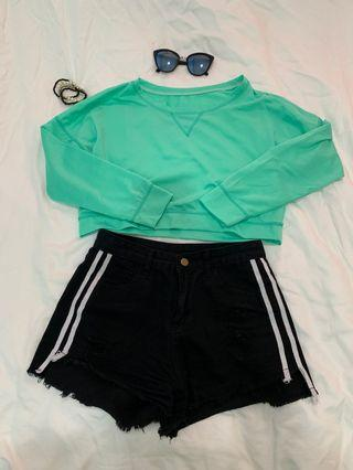 Turquoise cropped top jacket