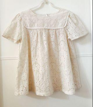 日本Ne-net蕾絲花襯衫(米白色)