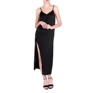 Black Satin Maxi Dress