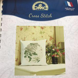 New DMC Cross stitch white Lily chrysanthemum flower cushion pillow plan pattern