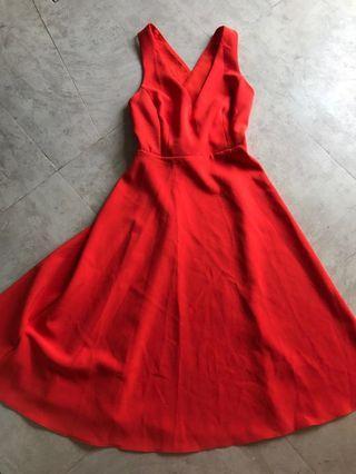 Warehouse sexy back flare midi dress