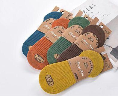 🚚 Candy colored low ankle sneaker cotton socks