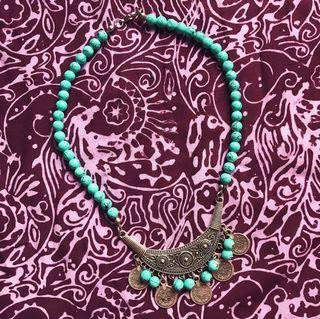 🚚 Turquoise and Antique Silver Statement Coin Necklace