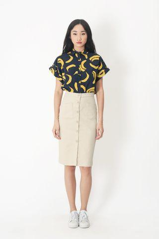 <Looking for trades> Aforarcade Andie Button Skirt in Biscotti