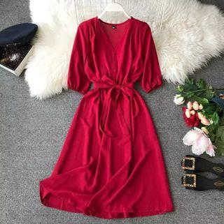 New Style Vintage Dress - Wine Red