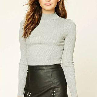 Grey Ribbed Crop Mock Neck Sweater