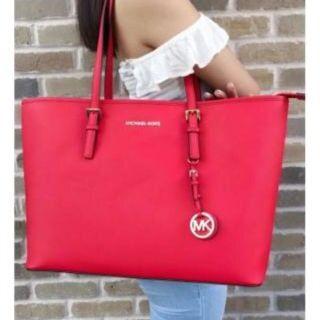 Michael Kors Jet Set Travel Medium Saffiano Leather Tote Bag- Red