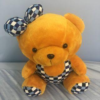 🚚 可愛 格子熊娃娃