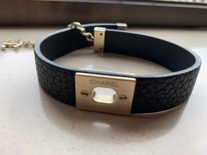 Chanel logo leather collar/ bracelet with dust bag