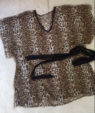 Leopard Print Caftan for Women (Size XL) plus size