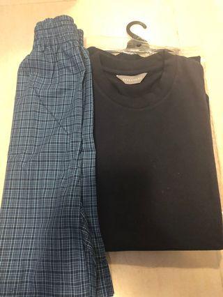 DEBENHAMS黑色短袖T恤 連藍色格仔短褲