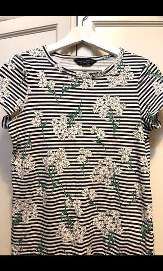 Dorothy Perkins floral stripes Cotton T-shirt . New . Size uk10. 33cm x57cm .