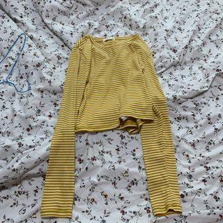 🚚 Yellow striped cropped Long sleeve