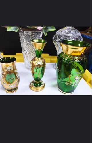 🚚 Bohemia green gold plated set