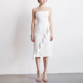 🌟NEW Tansshop Off-White Ruffles Minimalist Dress