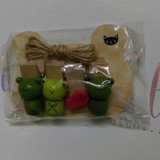 青蛙 木夾 連麻繩 zakka 包郵