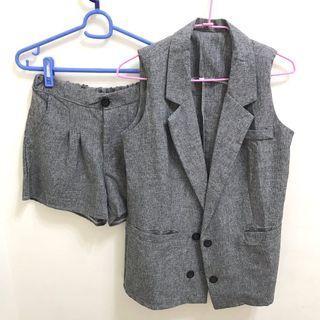 夏季休閒韓版背心套裝(背心外套+短褲)