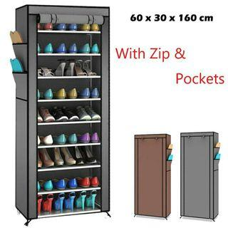 👠Stackable 10 Tier Shoe Rack With Dust Cover Cabinet👠