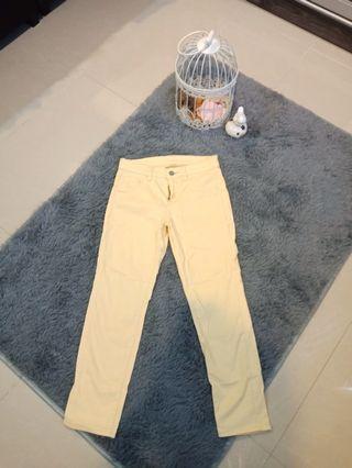 Uniqlo Yellow Cotton Capri Long Pants #CarouRaya