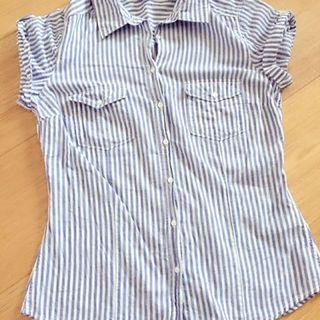 H&M 正品 藍白條紋 捲袖腰身棉T M碼。220