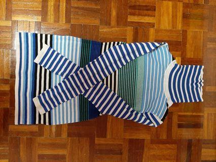blue stripes longsleeved turtle neck shirt