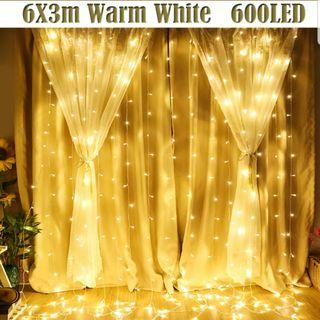 6x3 LED Curtain Fairy Lights - Warm White (xmas, wedding, birthdays etc)