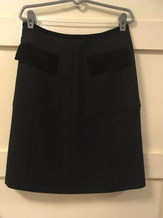 Authentic Gucci black skirt with velvet trim