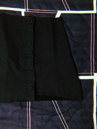 Uzzlang Pinstripe Uneven Hem High Waist Skirt