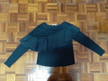 long sleeved black flowy shirt