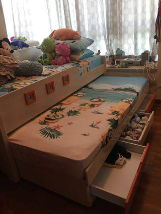 🚚 $300 only! Single Size Bed + Mattresses with Pull Out Bed