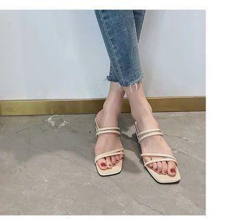 🚚 全新米色低跟線條涼鞋37