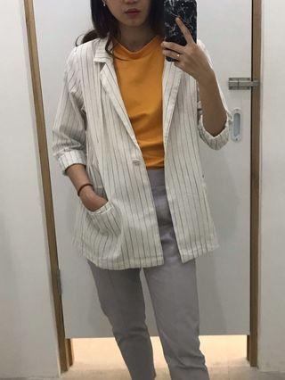 Stripe White Blazer