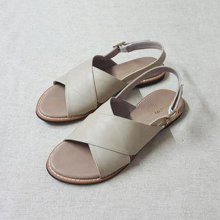 日系少女交叉平底涼鞋