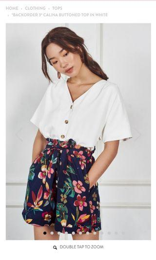 TCL Calina buttoned top in white