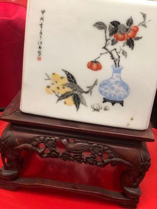 古董一對花盤