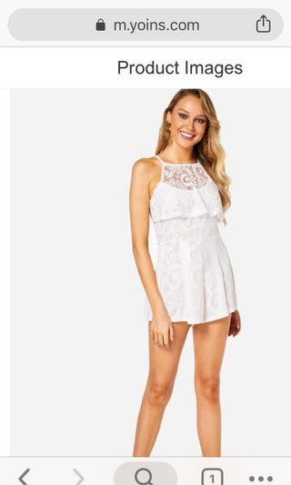 White lace romper sweet party wedding romantic