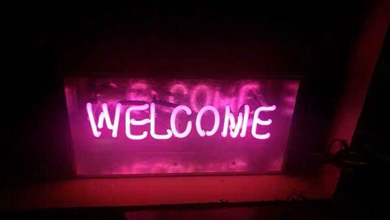Neon Light Text Welcome