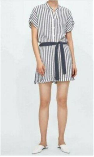ZARA Striped Romper with Belt