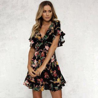 Ruffle floral flare dress
