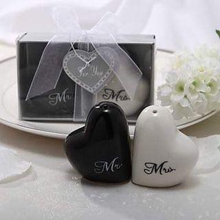 Mr. And Mrs. Double hearts salt and pepper shaker
