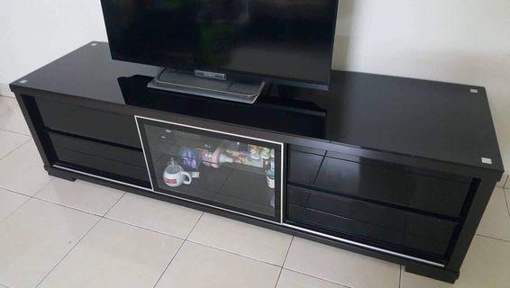 Black Tempered-glass TV Cabinet