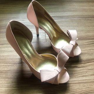 AK Anne Klein 粉紅皮質蝴蝶結/高跟鞋/ VIVI 芭比款 魚口鞋/跟鞋