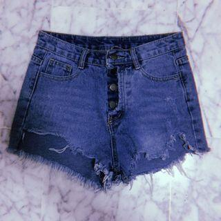 Ripped Denim Button Down High Waist Shorts